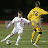 Weymouth: Masconomet senior captain Brian Connery gets a shot off ahead of a Nauset defender during the first half of Masco's state semifinal game against Nauset in Weymouth on Tuesday. Photo by Matthew Viglianti/Staff Photographer Tuesday, November 18, 2008.