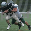 Beverly: Hamilton-Wenham senior Casey Colyer is taken down by Pentucket's Cam Spofford during the second quarter of the Generals' game against the Sachems at Endicott College in Beverly on Sunday. Pentucket shut-out the Generals 14-0. Photo by Matt Viglianti/Salem News Sunday, September 28, 2008