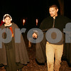 "Salem: Nicole Amero of Peabody and Benjamin Moulton of Beverly rehearse a scene from ""Terror Fantasies"" within a ring of torches at Pioneer Village in Salem. History Alive! presents the play, which brings visitors through a terrifying night-time journey through Pioneer Village during the time of the infamous ""afflicted girls of Salem"" from the late 1600s. Photo by Matt Viglianti/Salem News Tuesday, October 07, 2008"