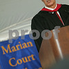 Swampscott: Skipper Rich Wilson from Marblehead describes his 25,000 mile journey around the world for the 2008 Vandee Globe yacht race to students, faculty, friends and family at the Marion Court College graduation ceremonies in Swampscott on Wednesday. Photo by Matthew Viglianti/Staff Photographer Wednesday, May 20, 2009.