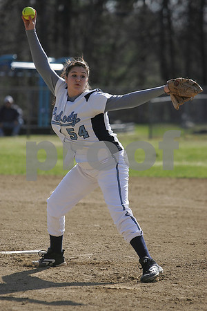 Peabody: Nicole Wilson winds up to pitch for the Peabody Tanners during their game against Beverly at the Kiley School Field in Peabody on Thursday. Photo by Matthew Viglianti/Staff Photographer Thursday, April 9, 2009.