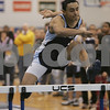 Swampscott: Edwin Mejia, a junior from Peabody High School, competes in the 55 meter hurdles at a meet between Peabody and Saugus at Swampscott High School on Monday. Mejia finished the race in a time of 8.9 seconds. Photo by Matt Viglianti/Salem News Monday, December 29, 2008