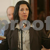 Salem: Salem Mayor Kimberley Driscoll voices her thoughts on the Salem Mission's plan to turn the former St. Mary's Italian Church building into a permanent housing unit for the homeless during a City Council meeting on Monday. Photo by Matthew Viglianti/Staff Photographer Monday, June 22, 2009.
