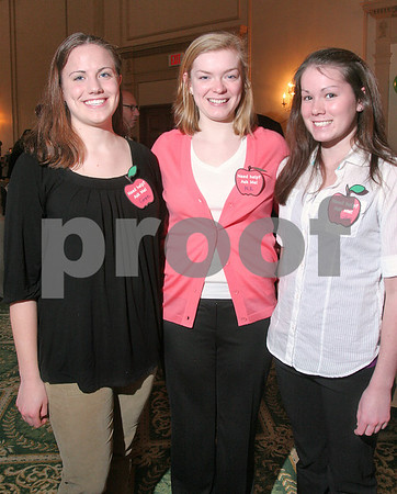 Salem: Salem High School seniors Grace Bennett, Maureen Regan, and Kristin Jinks, helped out at the Foundation for Salem Public Education's annual Spring Auction in Salem on Thursday. Photo by Matthew Viglianti/Staff Photographer Thursday, April 2, 2009.
