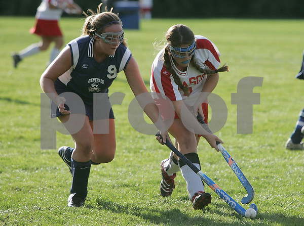 Topsfield: Brianna Pomeroy from Hamilton-Wenham, left, fights for the ball with Masconomet's Kelsey Siwek during their team's game in Topsfield on Thursday. Photo by Matt Viglianti/Salem News Thursday, October 02, 2008