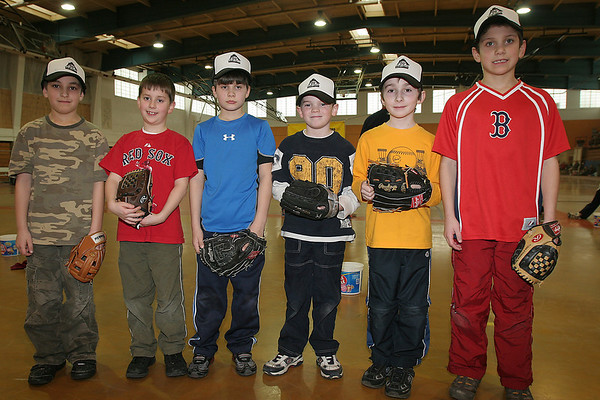 Beverly: From left to right, eight-year-olds Chris Ryan, Alex Kelley, Bryce Kopcak, Thomas Gibney, Zachary Hall, and Cameron Schlegel participated in the 28th annual Beverly Little League indoor winter clinic at Beverly High School on Sunday. Photo by Matthew Viglianti/Staff Photographer Sunday, January 24, 2010.