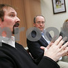 Beverly: Barry Ivan, Artistic Director and Executive Produce at the North Shore Music Theatre in Beverly, speaks to Salem News editors and reporters at a meeting held at the newspaper's office in Beverly on Wednesday afternoon. At right, David Fellows and Nicole Gakidis Cargill listen as Ivan discusses the Theatre's new business plan. Photo by Matthew Viglianti/Staff Photographer Wednesday, April 15, 2009.