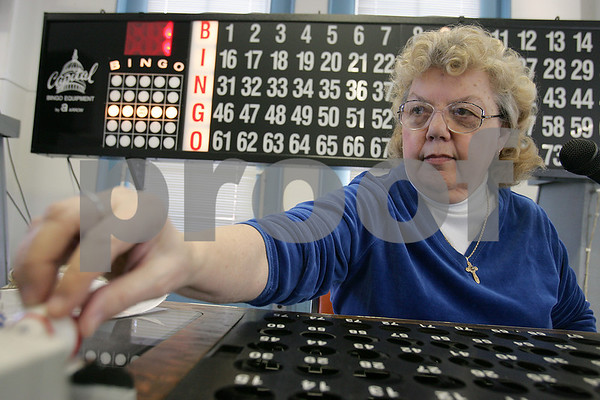 Salem: Pauline Sullivan of Salem manages BINGO at the Salem Senior Center as part of the city's senior tax work-off program on Wednesday afternoon. The program allows seniors to work a variety of jobs in exchange for discounts on their property taxes. Photo by Matt Viglianti/Salem News Wednesday, February 04, 2009