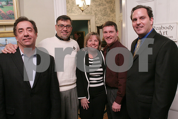 Peabody: From left to right, Mark Vainas, Manny Paula, Karen McGovern, Dan Terenzoni, and Scott Frasca pose during the Making a Difference in Peabody Foundation Fundraiser at the Cassidy Museum on Wednesday. Photo by Matt Viglianti/Salem News Wednesday, March 04, 2009