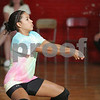 Beverly: Erica Mendez from Salem bumps the ball during Salem's exhibition volleyball match against Beverly in Beverly on Wednesday. The 2008 season is the first for both programs. Photo by Matt Viglianti/Salem News Wednesday, September 03, 2008