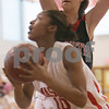 Topsfield: Masconomet senior Jamie White eyes the basket while being guarded on the baseline by North Andover junior Katie Moroney during Masconomets game agaisnt North Andvoer in Topsfield on Sunday. Photo by Matt Viglianti/Salem News Monday, January 12, 2009
