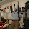 Byfield: Masconomet parents cheer as the girls hockey team scores a third period goal during their game against Beverly in the first round of the state tournament in Byfield on Monday. From left are Dolly McIlvaine, Jennifer Brook-Monroe, Karen Hartel-Koenig, Maria Doyle, and Karin Turner. Photo by Matthew Viglianti/Staff Photographer Monday, February 23, 2009.