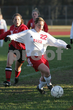 Topsfield: Masco junior Lexi Dussi hustles to keep the ball from going out of bounds during the Chieftains home game against North Andover on Thursday. Masconomet captured the Cape Ann League title with their 4-2 win over North Andover. Photo by Matt Viglianti/Salem News Thursday, October 30, 2008