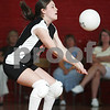 Beverly: Carly Mears from Beverly bumps the ball during Beverly's exhibition volleyball match against Salem in Beverly on Wednesday. The 2008 season is the first for both programs. Photo by Matt Viglianti/Salem News Wednesday, September 03, 2008