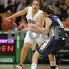 Boston: Swampscott senior Allie Beaulieu works the parimeter against Archbishop Williams freshman Michaela Flanagan during the second quarter of the Big Blue's Division 3 state tournament semifinal game against Archbishop Williams at the TD Banknorth Garden in Boston on Monday. Swampscott won 67-51 to advance to the Division 3 title game at the DCU Center in Worcester on Saturday. Photo by Matthew Viglianti/Staff Photographer Monday, March 9, 2009.