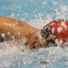 Salem: Jorge Barzola from Salem competes in the 100-meter freestyle event at the Northeastern Conference Swim Meet at Salem State College on Wednesday night. Photo by Matthew Viglianti/Staff Photographer Wednesday, February 3, 2010.