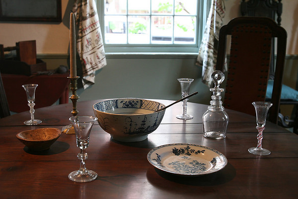 Salem: A table setting in a parlor in the Crowninshield-Bentley House in Salem. The house, which is on the National Register of Historic Places, has been reopened after four years of renovations. Photo by Matthew Viglianti/Staff Photographer Tuesday, July 13, 2010.