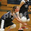 Middleton: North Shore Tech senior Jessica Silva, left, bends to bump the ball during her team's home match against Mystic Valley in Middleton on Tuesday. Shown at right is Tech junior Vanessa Orlando. North Shore Tech won the match 3 games to 1. Photo by Matt Viglianti/Salem News Tuesday, September 09, 2008