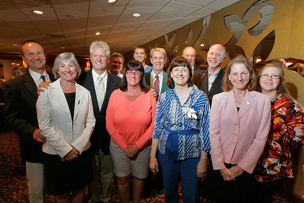Danvers: Candace Wheeler, center right, poses with Hamilton town employees at a farewell dinner to thank her 30 years of municipal service in Hamilton on Wednesday. Wheeler most recently served as Town Administrator. Photo by Matthew Viglianti/Staff Photographer Wednesday, June 2, 2010.