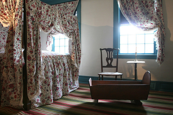 Salem: A bedroom in the Crowninshield-Bentley House in Salem. The house, which is on the National Register of Historic Places, has been reopened after four years of renovations. Photo by Matthew Viglianti/Staff Photographer Tuesday, July 13, 2010.