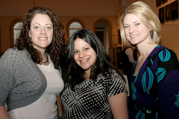 Salem: From left, Rachel Hilton from Lynn, Claudia Tabar from Danvers, and Brittany Hussey from Lynn, enjoy the evening at the Peabody Essex Museum in Salem during the WINGS Cares networking event. WINGS stands for Women in Networking - Giving Support - and the event raised money for Windrush Farm, which specializes in theraputic equitation. Photo by Matthew Viglianti/Staff Photographer Thursday, March 18, 2010.