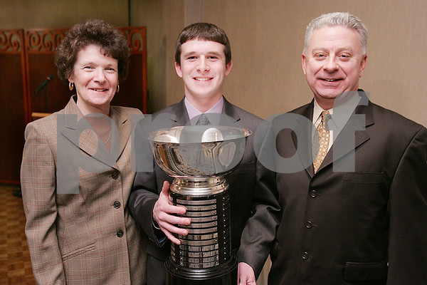 Salem: Gregory Doonan from Peabody, winner of the 2009 Salem News Student-Athlete Award, poses at the award banquet with his parents, Mary and George, on Wednesday evening in Salem. Photo by Matthew Viglianti/Staff Photographer Wednesday, April 1, 2009.