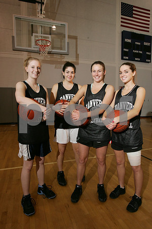 Danvers: Danvers seniors, from left, Ashley Conway, Taylor Cross, Bailey Potter, and Erica Veilleux have helped lead the Faclons' varsity girls basketball team to a 6-1 start this season. Photo by Matt Viglianti/Salem News Wednesday, January 07, 2009