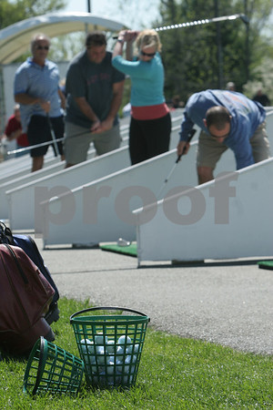 Danvers: Golfers practice their swings at the Sun 'N Air Golf Center in Danvers on Sunday afternoon. Photo by Matthew Viglianti/Staff Photographer Sunday, May 10, 2009.
