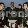 Marblehead: Marblehead defensive backs, from left, senior Nick Haller, junior Taariq Allen, junior Flynn McCormack, and senior Sam Chalek, look to prevent Swampscott junior quarterback, Chris Cameron, from having a big passing day this Thursday. Photo by Matthew Viglianti/Staff Photographer Monday, November 24, 2008.