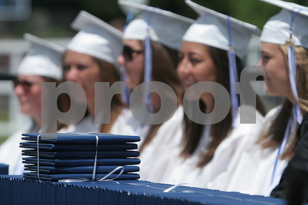 Swampscott: Diplomas wait to be handed out during graduation ceremonies for the Swampscott High School class of 2009 at Blocksidge Field on Sunday. Photo by Matthew Viglianti/Staff Photographer Sunday, June 7, 2009.