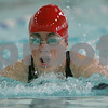Wenham: Brooke Callaway from Masconomet takes a breath while swimming the breast stroke leg of the 200 yard medley relay race during Masco's meet against Manchester-Essex at Gordon College on Monday. Photo by Matt Viglianti/Salem News Monday, January 19, 2009