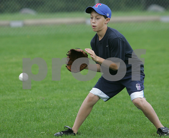 Jake Esposito during a Topsfield Little League all-star practice.