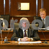 Beverly: Mayor William Scanlon delivers his mid-term address at City Hall in Beverly on Monday evening as City Clerk Frances Macdonald, left, and City Council President Timothy Flaherty listen. Photo by Matthew Viglianti/Staff Photographer Monday, February 2, 2009.