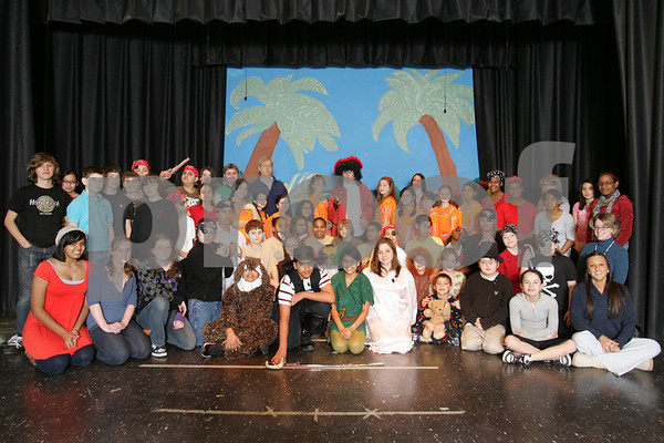 "Salem: The cast and crew of the Bowditch School's ""Peter Pan"" takes a break from rehearsal on Monday afternoon. Photo by Matthew Viglianti/Staff Photographer Monday, March 23, 2009."