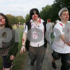 Salem: From left, Kelly Mahoney, Laura Moffitt, Ari Grosvenor, all from Beverly, stagger through Salem Common during the Zombie Walk on Sunday. Photo by Matt Viglianti/Salem News Sunday, October 05, 2008