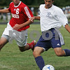 Hamilton: Hamilton-Wenham sophomore Sam Martinez, right, looks to make a play while under pressure from Masconomet senior Fouad Shahin during the General's home game against Masco on Tuesday. Photo by Matt Viglianti/Salem News Tuesday, September 16, 2008