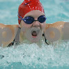 Wenham: Nicole Hamilton competes for Masconomet in the 50 yard butterfly race during Masco's meet against Manchester-Essex at Gordon College on Monday. Photo by Matt Viglianti/Salem News Monday, January 19, 2009