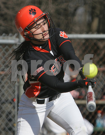 Peabody Kellie Shea from Beverly fouls off a pitch during the Panthers' away game against Peabody on Thursday afternoon. Photo by Matthew Viglianti/Staff Photographer Thursday, April 9, 2009.
