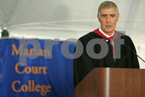 Swampscott: Rich Wilson from Marblehead speaks at the Marion Court College graduation ceremonies in Swampscott on Wednesday. In 2008, Wilson completed the 25,000 mile round-the-world yacht race, the Vendee Globe. Photo by Matthew Viglianti/Staff Photographer Wednesday, May 20, 2009.