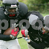 Marblehead: Marblehead junior Matt O'Neil, right, tackles senior Brandon Lee during practice on Wednesday. The Marblehead defense hopes to stop Danvers' Wing T offense this Friday. Photo by Matt Viglianti/Salem News Wednesday, October 22, 2008