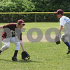 Danvers: Vinnie Clifford, 12, left, charges from third base to field the ball as Sean Lundergan, 12, rushes to cover the bag during a bunt defense drill with the Danvers National Little League All-Star team on Wednesday afternoon. Photo by Matthew Viglianti/Staff Photgrapher Wednesday, June 17, 2009.