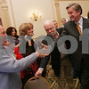 "Salem: Democratic Congressman John Tierney, right, shakes hands with Paul ""Lefty"" Wennik during a party celebrating Tierney's re-election as the Congressional representative of the Sixth District of Massachusetts at the Hawthorne Hotel in Salem on Tuesday night. Tierney defeated Republican opponent Richard Baker Jr.. Photo by Matt Viglianti/Salem News Tuesday, November 04, 2008"