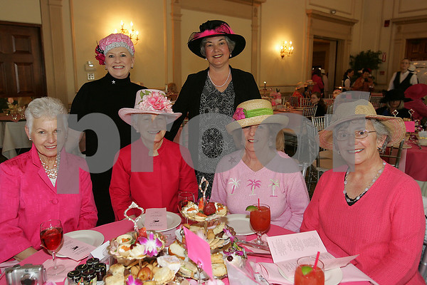 Salem: From left to right, Colette Sullivan from Peabody, Barbara Araujo from East Walpole, Jacqueline Corona from Salem, Deanna Karwowski from Beverly, Abby Ann Lavoie from Marblehead, and Reanne Normand from Beverly pose at the 5th annual Pink Tea to benefit the Hospice of the North Shore in Salem on Sunday. Photo by Matthew Viglianti/Staff Photographer Sunday, May 3, 2009.