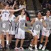 Boston: The Swampscott girls basketball team celebrates as the final horn sounds on their Division 3 state tournament semifinal game against Archbishop Williams at the TD Banknorth Garden in Boston on Monday. Swampscott won the game 67-51 to advance to the Division 3 title game at the DCU Center in Worcester on Saturday. Photo by Matthew Viglianti/Staff Photographer Monday, March 9, 2009.
