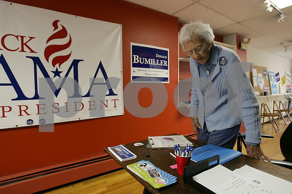 Beverly: Hope Wigglesworth of Ipswich sits down to work at the Democratic Party headquarters on South Main Street in Ipswich on Tuesday. Photo by Matt Viglianti/Salem News Tuesday, September 16, 2008