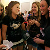 Danvers: From left to right, Kelsey Bille, Celia Alviti, Paige Goodwin, Noelle Sacramone, and Kerri O'Shea, all from Peabody, wait in line to see Eclipse, the new Twilight movie, at Lowes Theater in the Liberty Tree Mall in Danvers, were fans waited for up to seven hours to enter theaters on Tuesday night. Photo by Matthew Vigliant/Staff Photographer Tuesday, June 29, 2010.