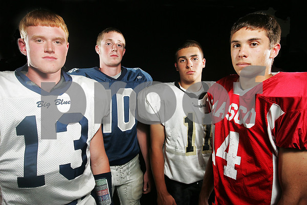Beverly: Northshore high school quarterbacks. From left, Swampscott junior Chris Cameron, Hamilton-Wenham junior Andy Duval, Bishop Fenwick senior Pat Holleran, and Masconomet senior Chris Splinter. Photo by Matt Viglianti/Salem News Tuesday, September 02, 2008