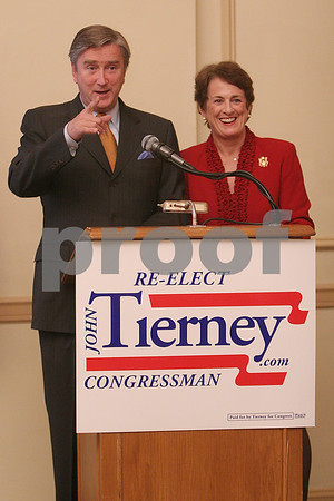Salem: Congressman John Tierney and his wife, Patrice, thank their friends and supporters at a gathering to celebrate Tierney's re-election as the Congressional representative of the Sixth District of Massachusetts on Tuesday night in Salem. Photo by Matt Viglianti/Salem News Tuesday, November 04, 2008
