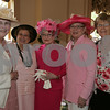 Salem: From left to right, Carolyn Purtell from Lakeville, Elizabeth Pezaris from Winchester, Maryann Curtin from Salem, Bonnie Wheeler from Dallas, TX, and Mary Fran Coyne from Wellesley, the five original Bad Girls, gather together at the 5th annual Pink Tea in Salem on Sunday afternoon. The event raises money for Hospice of the North Shore. Photo by Matthew Viglianti/Staff Photographer Sunday, May 3, 2009.