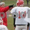 Topsfield: Masconomet head football coach Jim Pugh directs his team during practice on Sunday morning. The Chieftains are gearing up for their playoff game against Gloucester in Lynn on Tuesday. Photo by Matt Viglianti/Salem News Sunday, November 30, 2008
